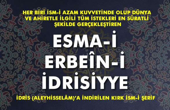 Photo of Esma-i Erbeîn-i İdrisiyye Nedir?